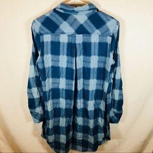 Free people women's blue plaid flannel shirt dress